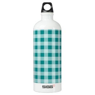 暗い青緑色のギンガム ウォーターボトル