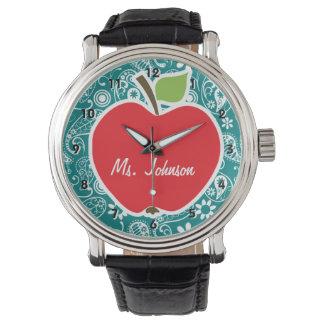 暗い青緑色のペイズリーのApple 腕時計