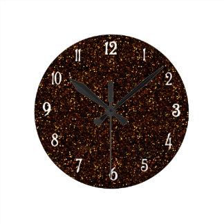 暗い青銅色のオレンジグリッター ラウンド壁時計
