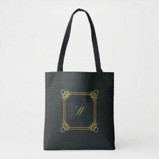 暗い革のモダンな正方形のモノグラム トートバッグ