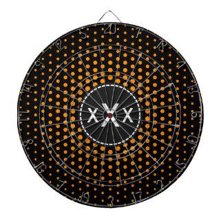 暗い-オレンジテクノの点のモダンのモノグラム ダーツボード