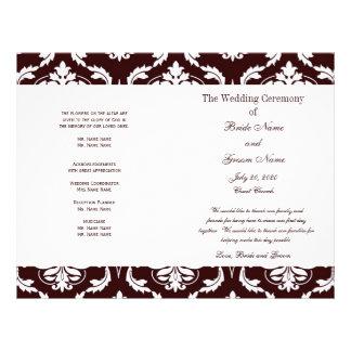 暗い|ブラウン|ヴィンテージ|ダマスク織|結婚|プログラム フルカラーチラシ