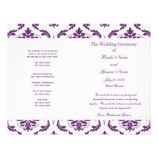 暗い|紫色|ヴィンテージ|ダマスク織|結婚|プログラム