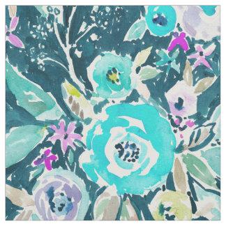 暗いBohoの青い花の水彩画パターン ファブリック