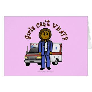 暗いEMTの救急医療隊員の女の子 カード