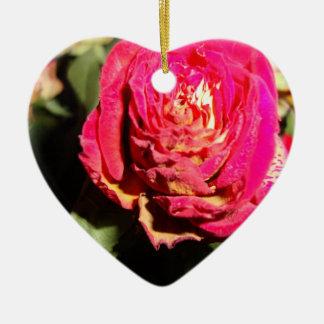 暗いhrt ornのピンクのバラ セラミックオーナメント