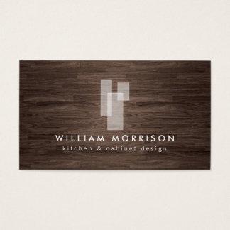 暗いWoodgrainのモダンな建築ロゴ 名刺