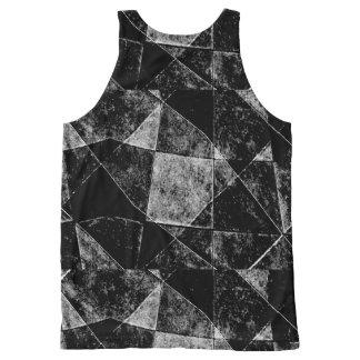 暗く幾何学的でグランジなパターンプリント オールオーバープリントタンクトップ