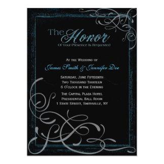 暗く白熱[赤熱]光を放つで青い優雅の招待状 カード