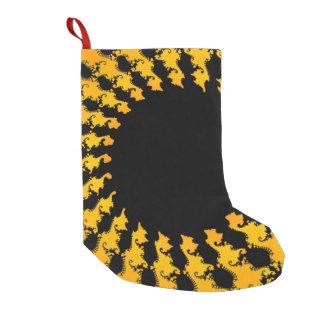 暗く黄色いフラクタル スモールクリスマスストッキング