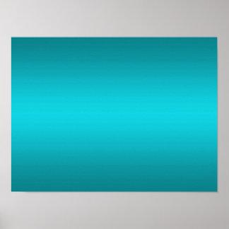 暗く、軽い水の青い勾配-ターコイズ ポスター
