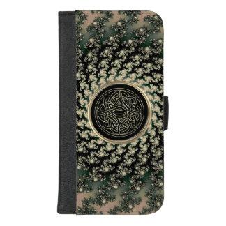 暗灰色のケルト族のフラクタルの財布の電話箱 iPhone 8/7 PLUS ウォレットケース