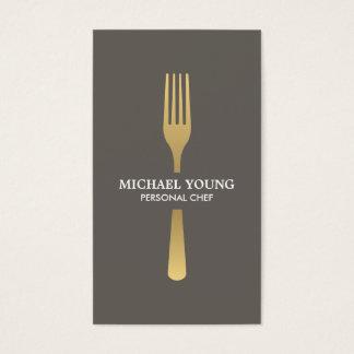 暗灰色のシェフ、ケータリング、レストランの金フォーク 名刺