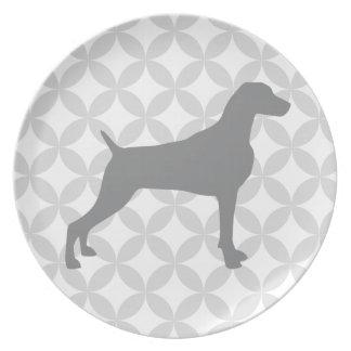 暗灰色WEIMARANERのシルエットのプレートが付いているダイヤモンド プレート