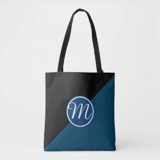 暗藍色のモノグラム トートバッグ