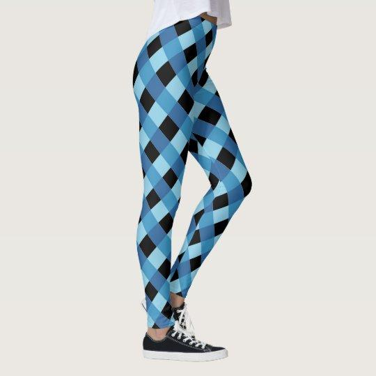暗藍色の格子縞パターン レギンス