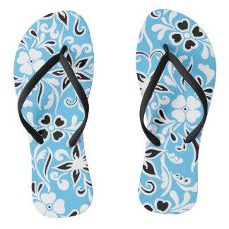 暗藍色及び白の花柄パターン ビーチサンダル
