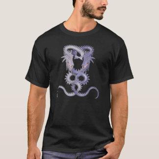 暗闇および淡い色のな紫色の二重ドラゴン Tシャツ