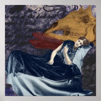暗闇の夢のキャンバスのプリントの女性 ポスター