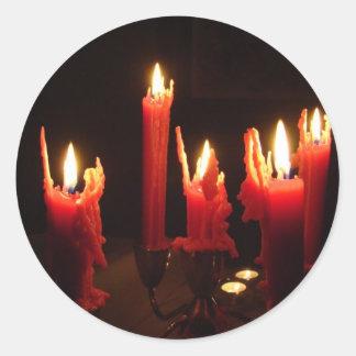 暗闇の気味悪い蝋燭 ラウンドシール
