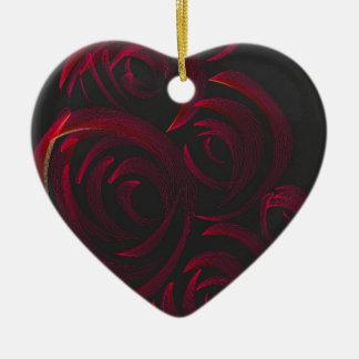 暗闇の赤いバラ セラミックオーナメント