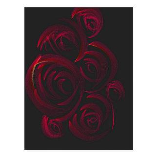 暗闇の赤いバラ ポストカード