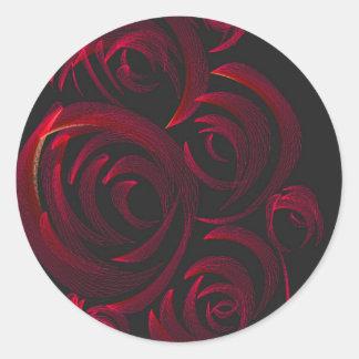 暗闇の赤いバラ ラウンドシール