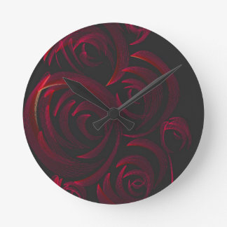 暗闇の赤いバラ ラウンド壁時計