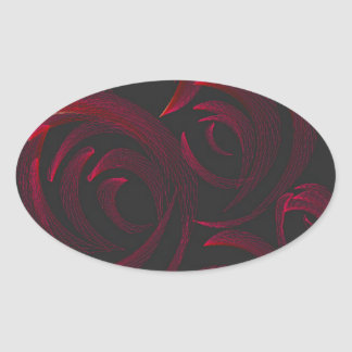 暗闇の赤いバラ 楕円形シール