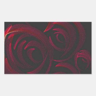 暗闇の赤いバラ 長方形シール