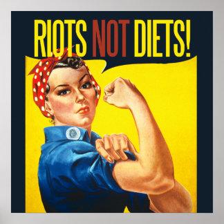 暴動のないダイエット-ヴィンテージのフェミニズム ポスター