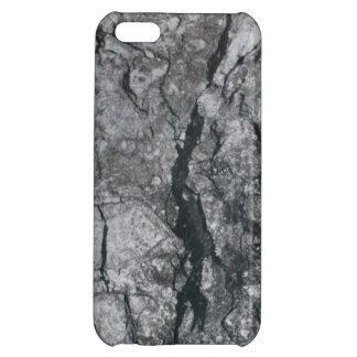 曇った石板の黒は大理石の石造りの終わりを縞にしました iPhone5Cケース