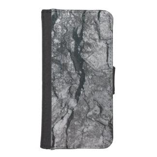 曇った石板の黒は大理石の石造りの終わりを縞にしました iPhoneSE/5/5sウォレットケース