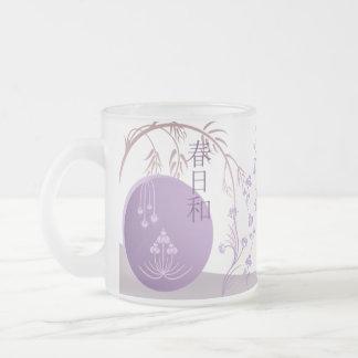 曇らされたガラスのマグ-日本人の春 フロストグラスマグカップ