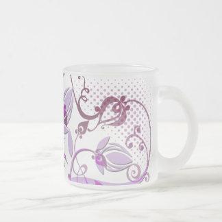 曇らされたガラスのマグ-紫色 フロストグラスマグカップ
