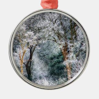 曇らされた森林HDR メタルオーナメント