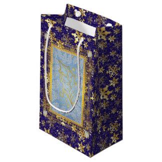 曇らされた神聖な葉及び金ゴールドの雪片ギフトのバッグ2 スモールペーパーバッグ