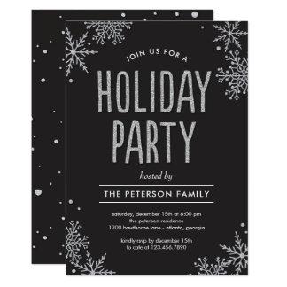 曇らされた雪片編集可能色のパーティの招待状 12.7 X 17.8 インビテーションカード