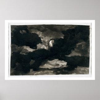 曇らせていた月明りの空(置かれるの勉強の黒い洗浄 ポスター
