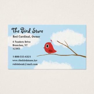 曇り空が付いているツリーブランチの赤い鳥 名刺