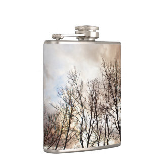 曇り空との日没の森林木 フラスク