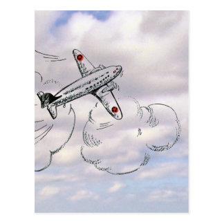 曇り空を引く飛行機を飛ばすヴィンテージ ポストカード