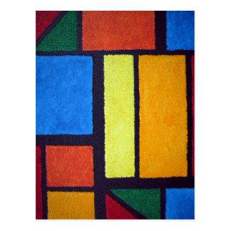 曖昧なモンドリアンの赤の抽象芸術の緑 ポストカード