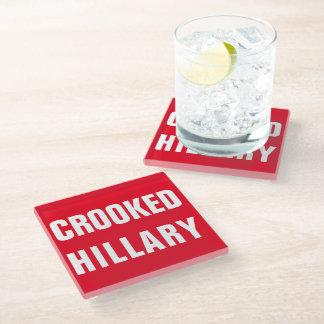 曲がったヒラリー・クリントン ガラスコースター