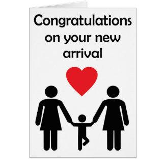 曲がった気持ちからのレズビアンのカップルの新生児 カード