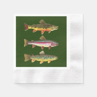 曲がるマスの魚釣り 縁ありカクテルナプキン