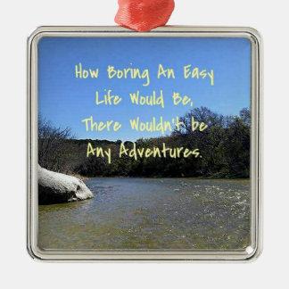 曲がる川の景色の感動的な引用文 メタルオーナメント