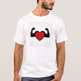 曲る筋肉健康なハートのハート Tシャツ