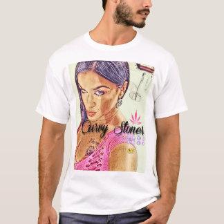 曲線の石を投げる人のTシャツ(日本製アニメ) Tシャツ