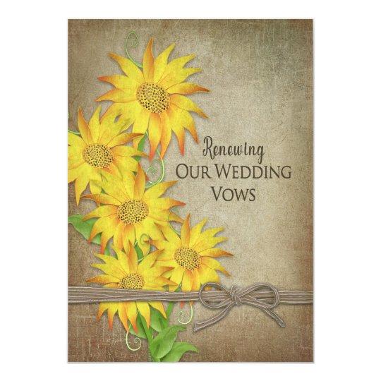 更新の結婚式誓約の招待状-ヒマワリ カード